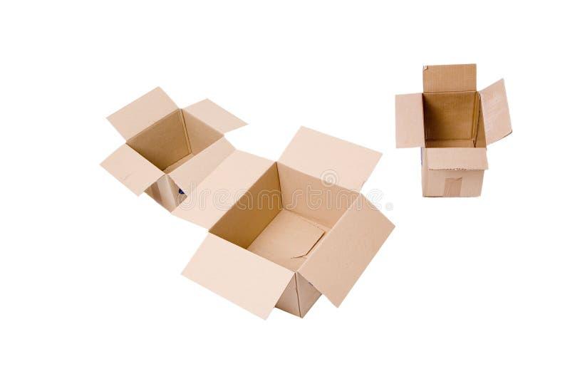 kartonów otwartych paczek obrazy stock