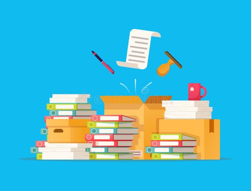 Kartonów pudełka Biurokracja, papierkowa robota, biuro Wektorowa ilustracja w mieszkanie stylu ilustracja wektor