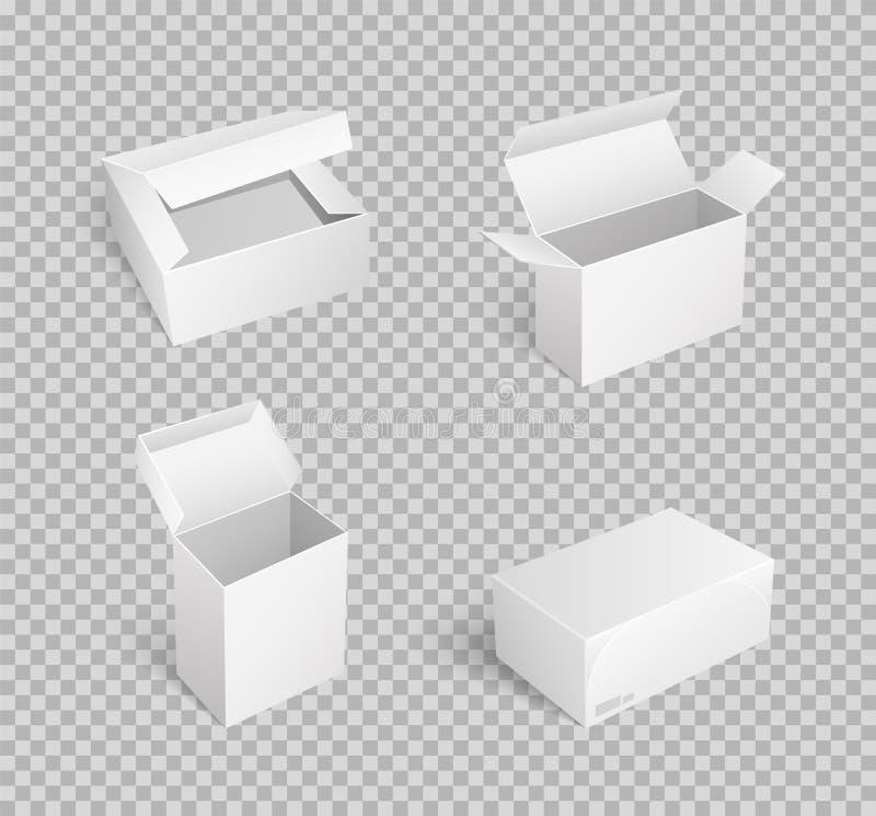 Kartonów pudełka z Otwartym wierzchołkiem Opróżniają pakunku wektor ilustracja wektor