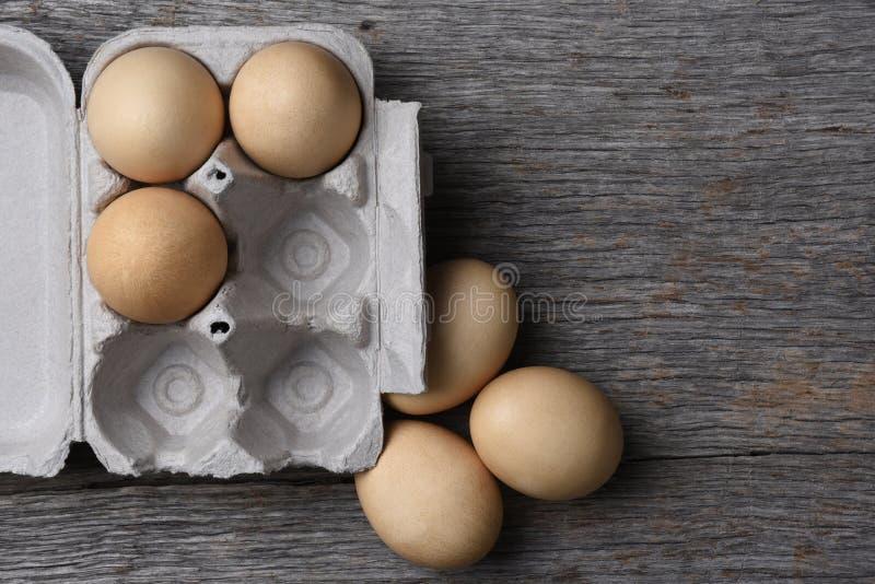 Karton świezi jajka trzy jajka w kartonie zdjęcia stock
