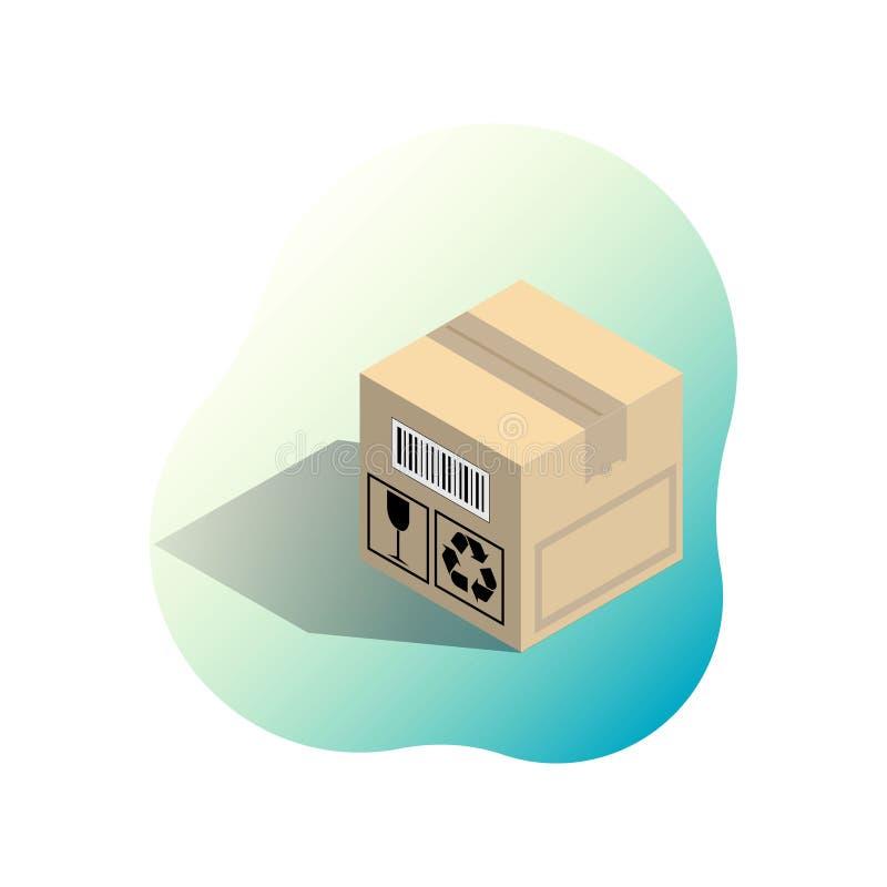Karton gofrował pudełko na jaskrawego gradientowego spo Isometric wektorowej ilustracji odizolowywającej na białym tle ilustracji