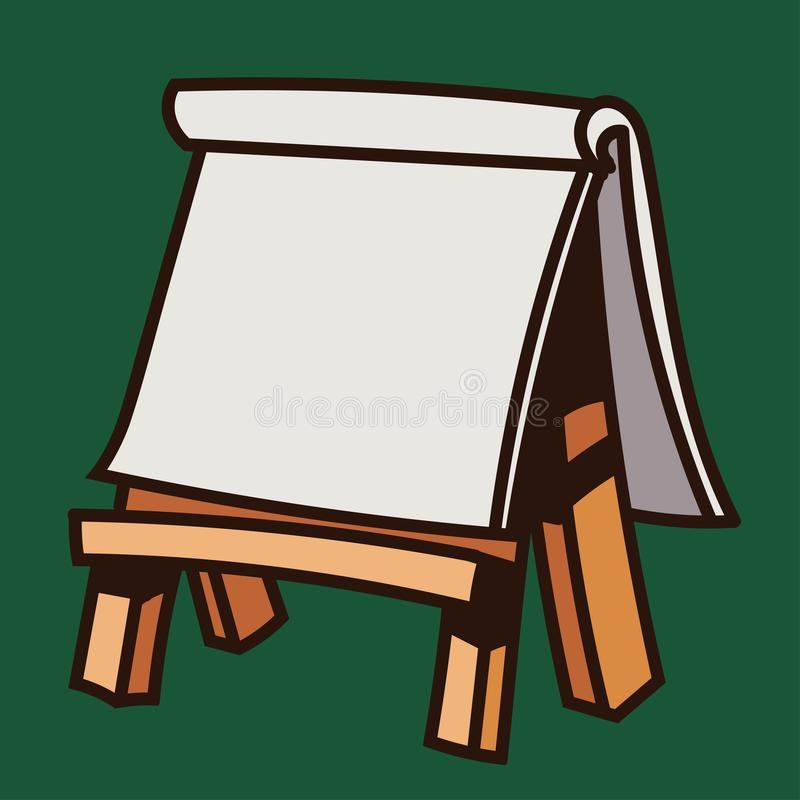 Karton op houten schildersezel-vectorillustratie royalty-vrije illustratie