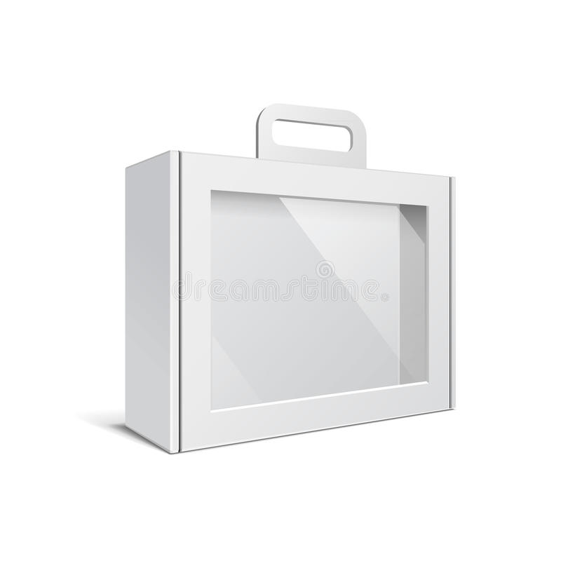Karton of Plastic Witte Lege Pakketdoos met Handvat Aktentas, Geval, Omslag, Portefeuillegeval stock illustratie