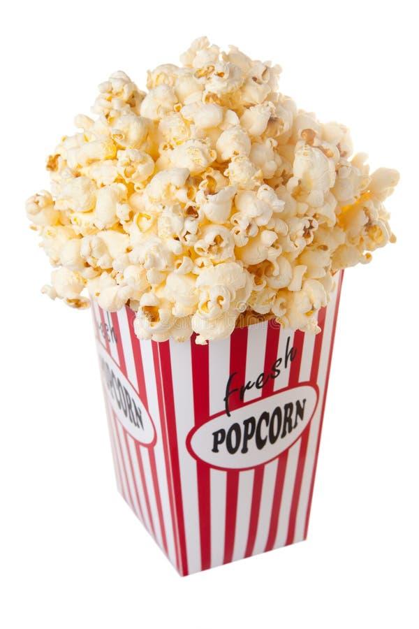 Karton Popcorn lizenzfreie stockfotos