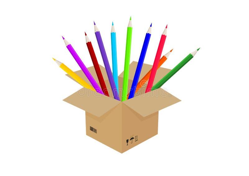 Karton z barwionymi ołówkami ilustracji
