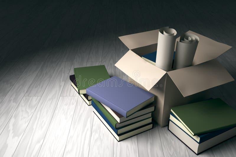 Karton z książkami i rolka papierami ilustracja wektor