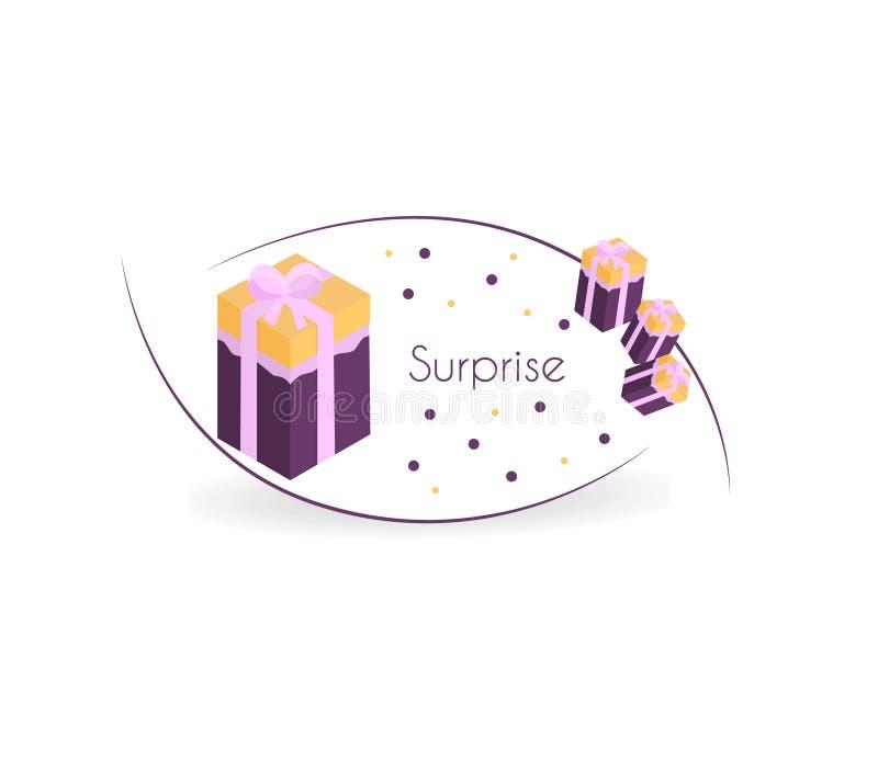 Karton z niespodzianka teksta projektem charakter - ilustracja ilustracji