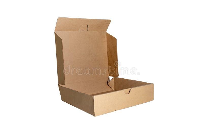Karton z otwartą pokrywą odizolowywającą na białym tle Dostawy, chodzenia, pakunku i prezenta pojęcie, fotografia stock