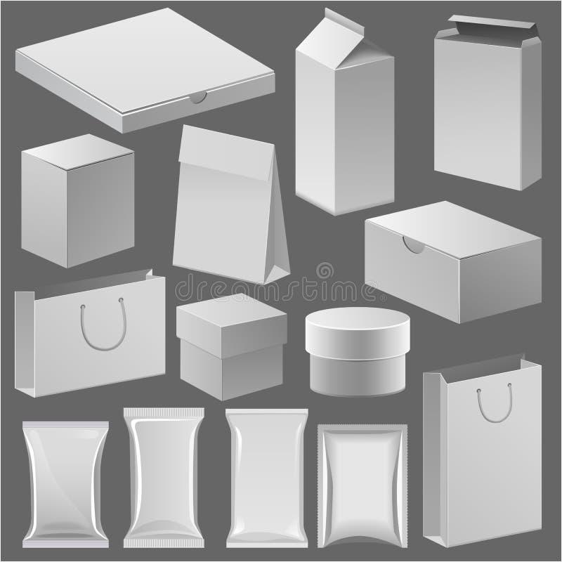 Kartondocument winkelvakje en leeg pakmalplaatje voor uw collectieve vector van de het gevalidentiteit van de opslagkoopwaar vector illustratie