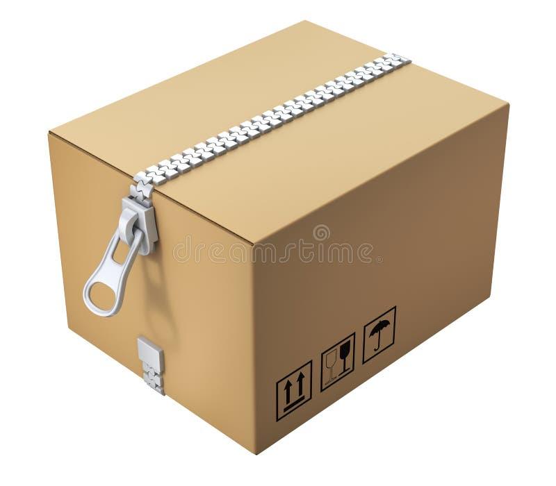 Kartondoos met de ritssluiting stock illustratie