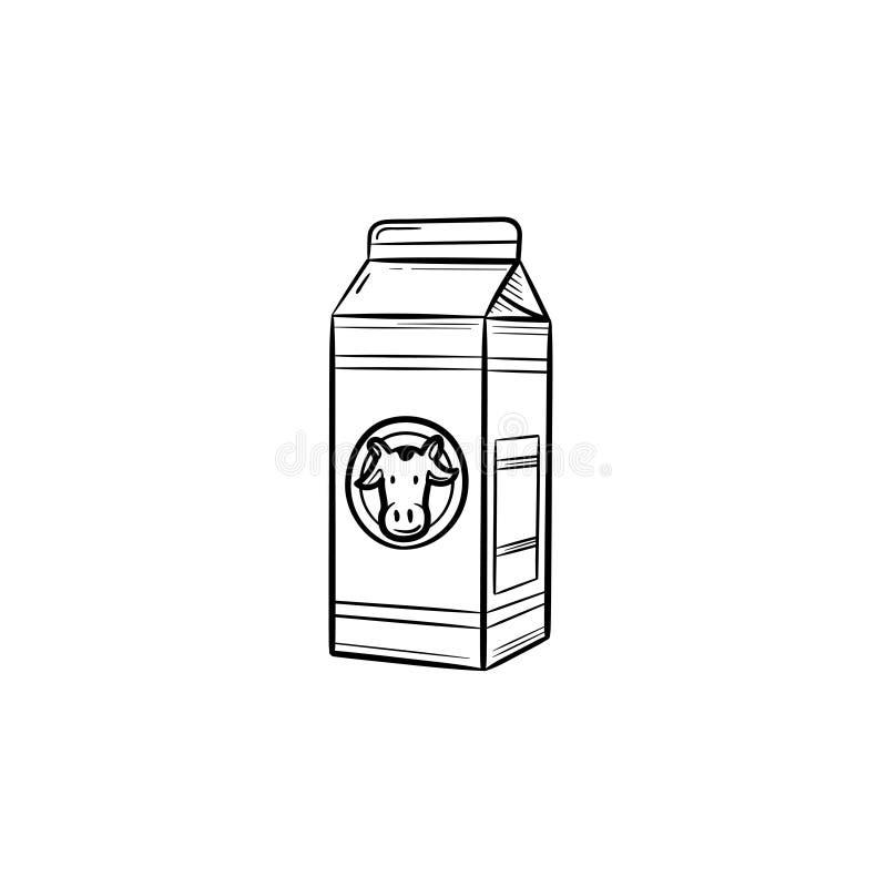 Kartondoos van pictogram van de melk het hand getrokken schets vector illustratie