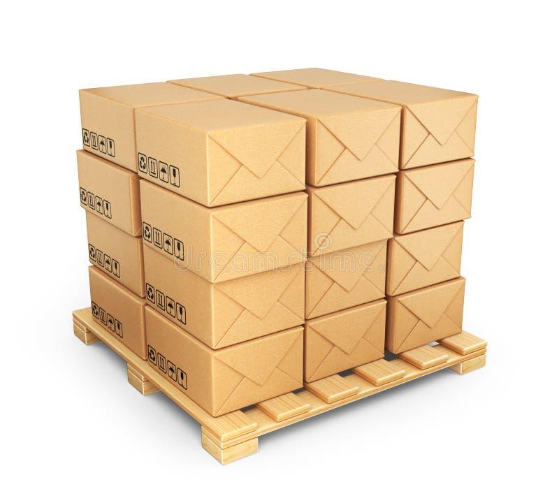 Kartondozen op palet. Lever concept. 3D geïsoleerd Pictogram stock illustratie