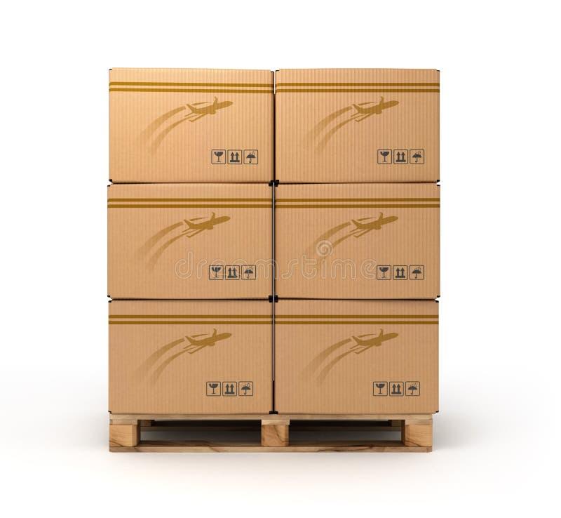 Kartondozen op palletlading, levering en vervoerslogboek royalty-vrije stock afbeelding