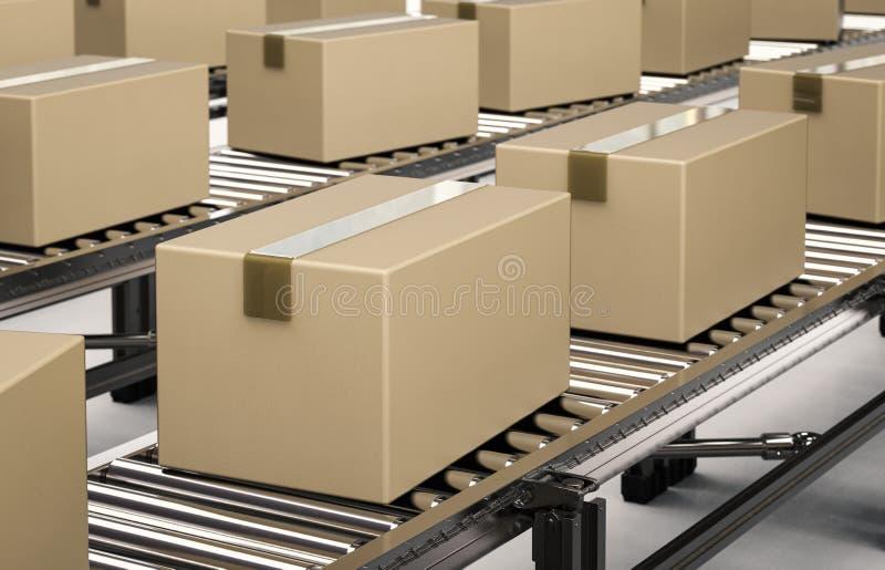 Kartondozen op transportband stock illustratie