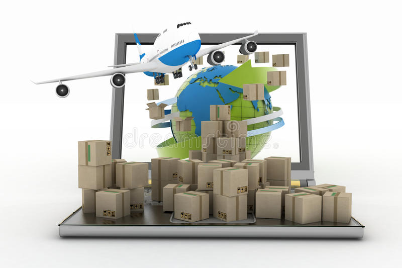 Kartondozen rond de bol op een het laptop scherm en vliegtuig stock illustratie