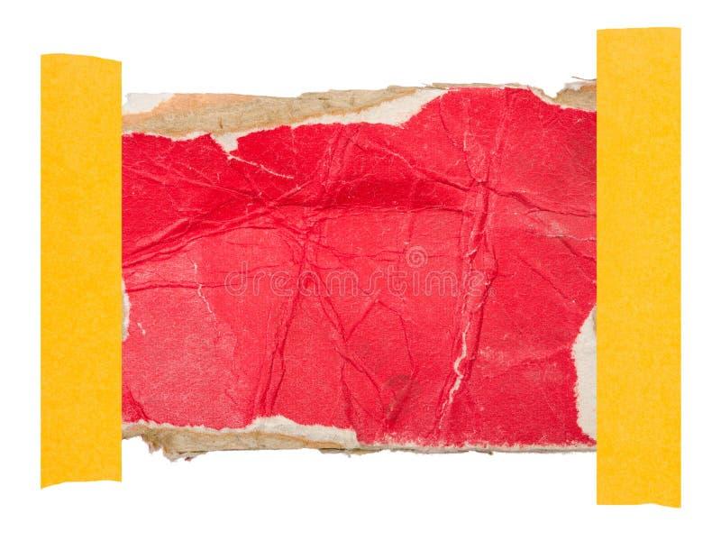 Kartonetiket in bijlage met een kleverige band royalty-vrije stock foto's