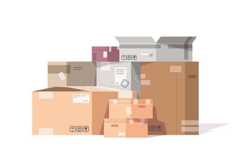 Kartongbunt Lådajordlotter och leveranspackar traver, plant lagergods och lasttrans. vektor stock illustrationer