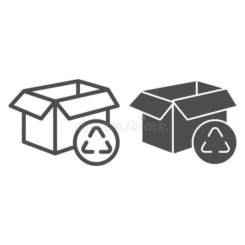 Kartongen återanvänder linjen och skårasymbolen Packe som återanvänder vektorillustrationen som isoleras på vit Översikt f stock illustrationer