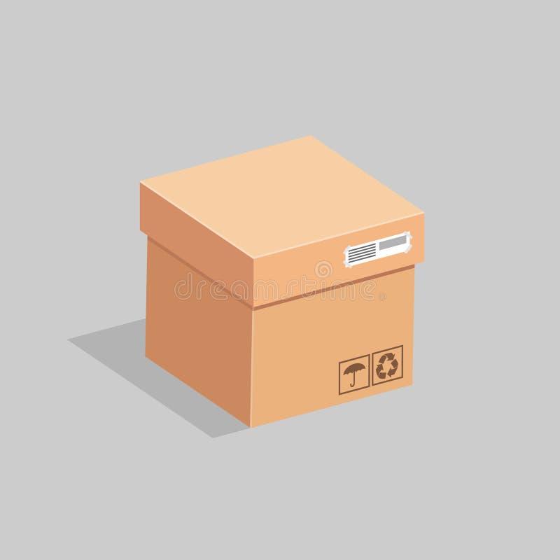 Kartongen stängs med ett lock också vektor för coreldrawillustration stock illustrationer