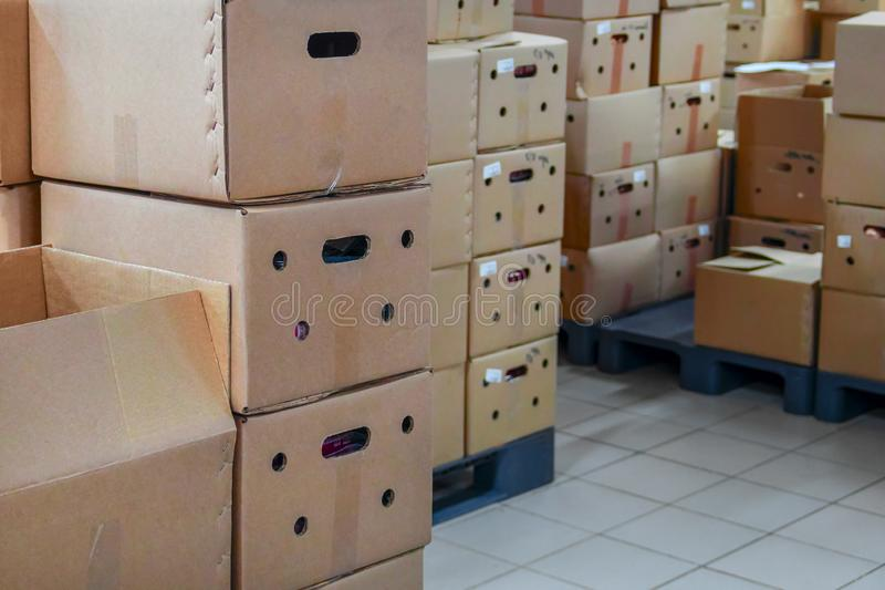 Kartonger i buntar i lagringslätthet arkivbilder
