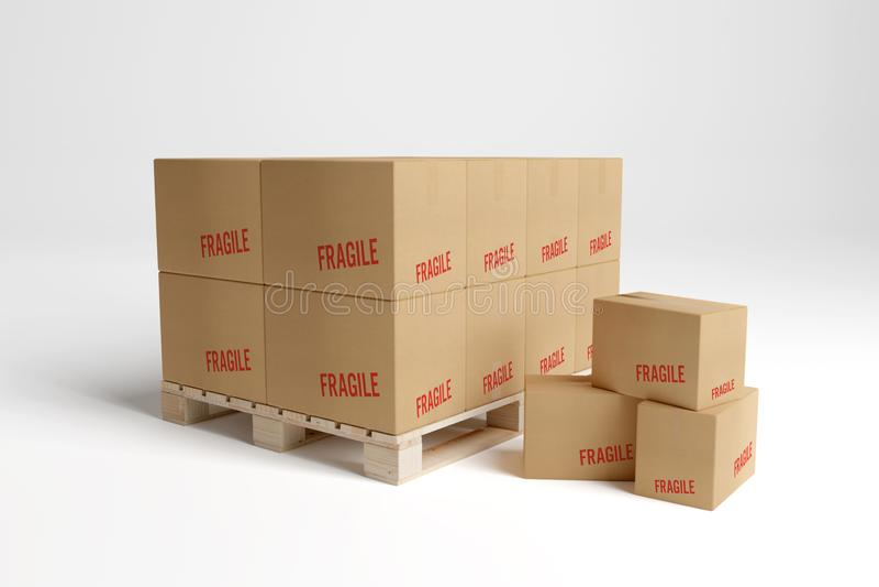 Kartonger i en lagermodell - tolkning 3d royaltyfri illustrationer