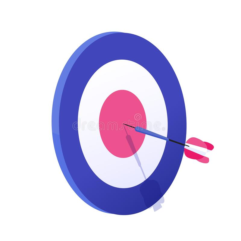 Kartongpil exakt på målvektorgrafikbilden Att uppnå mål, framgångsrik affärsstrategi är isolerat stock illustrationer