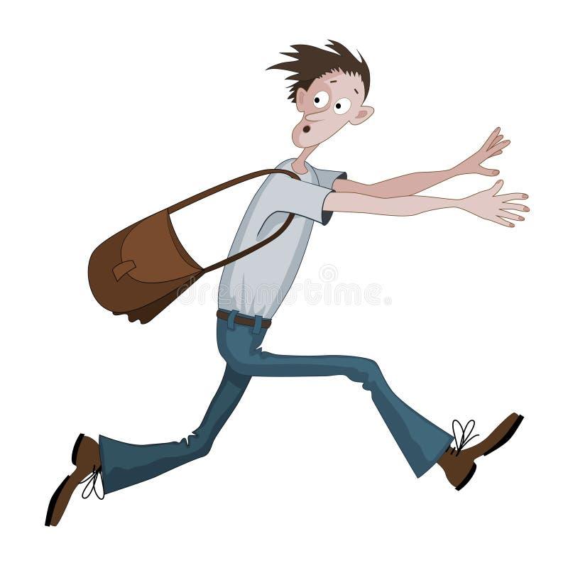 Kartonieren Sie den Mann, der schnell mit der Tasche läuft, die mit etwas erschrocken wird, er schaut zurück vektor abbildung