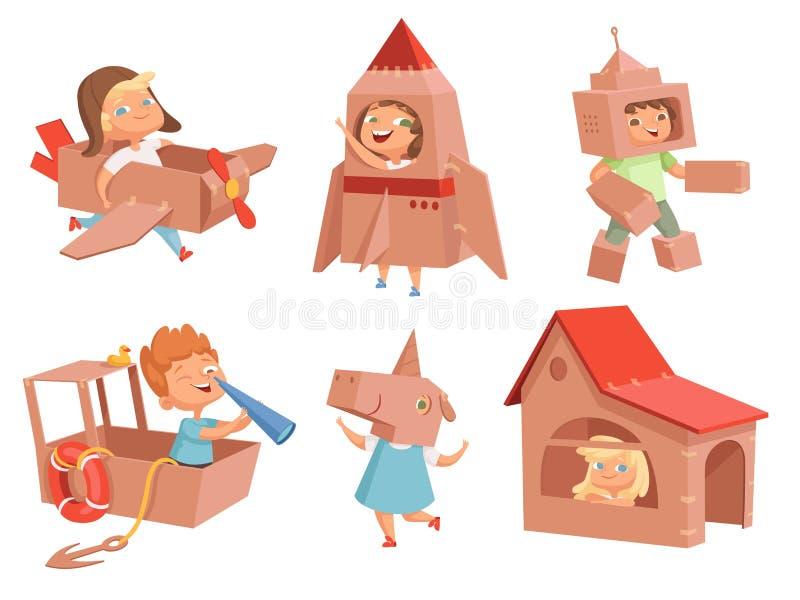 Kartonjonge geitjes het spelen De spelen die van kinderen met document containers vliegtuig tot auto en schip maken vectorkarakte stock illustratie