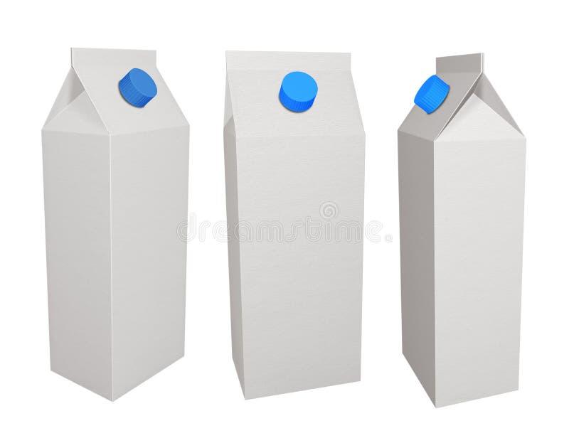 Kartonkästen für Milch stock abbildung