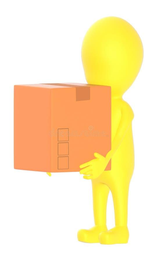 Kartonkasten des Charakters des Gelbs 3d tragender vektor abbildung