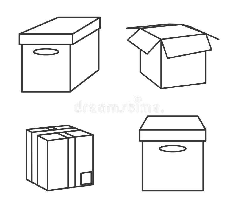 Kartonkastenpaketlieferungs-Ikonensatz Dekorativer Hintergrund als stilisiert Strudel der Wellen stock abbildung