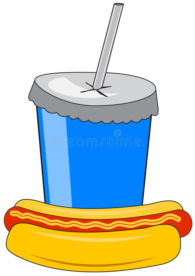 Kartonowa filiżanka z napojem i hot dog ilustracja wektor