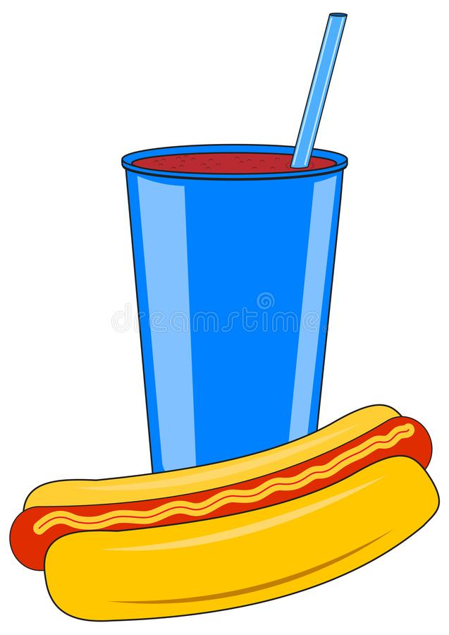 Kartonowa filiżanka z napojem i hot dog ilustracji