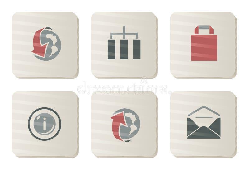 kartonowa ikon internetów serii strona internetowa ilustracja wektor