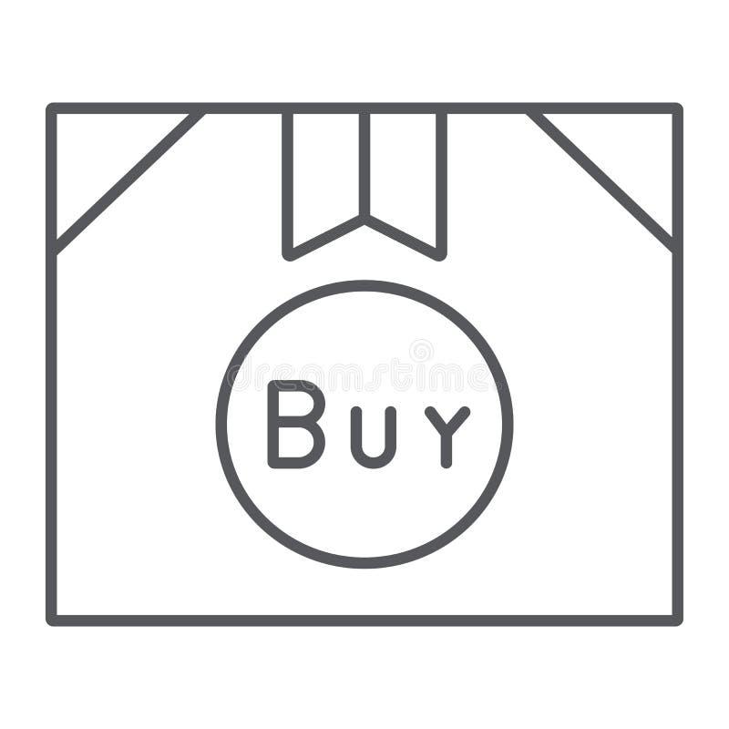 Kartonowego pakuneczka cienka kreskowa ikona, dostawa i pudełko, zakupu znak, wektorowe grafika, liniowy wzór na bielu ilustracji