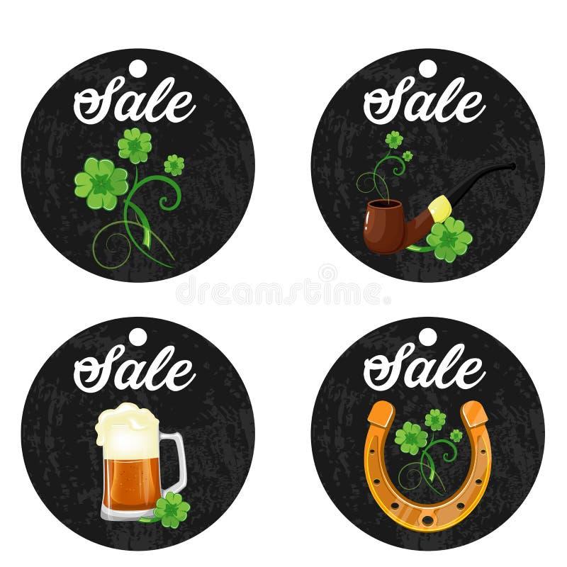 Kartonowi obwieszenie ceny majchery dla St Patrick s dnia na białym tle ilustracji