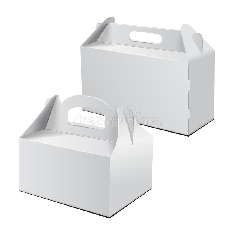 Kartonowy Boxt Dla torta, fasta food, prezenta, etc, Niesie Pakować Set Wektorowy Mockup Biały szablon pakunek ilustracji