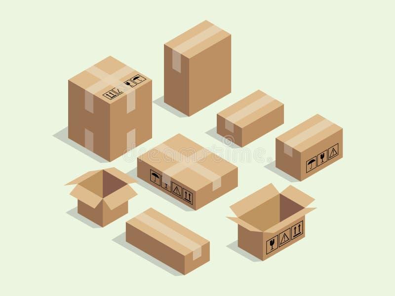 Kartonowy isometric pudełko dla wysyłać pakować z różnorodnym wielkościowym pakunku wektorem ilustracji