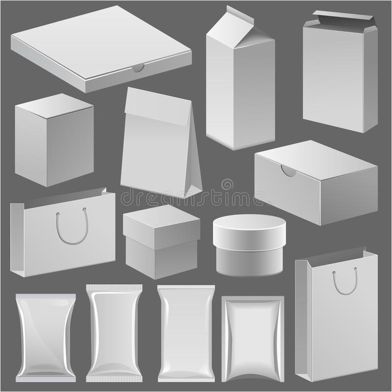 Kartonowy papierowego sklepu pudełko i opróżnia jucznego szablon dla twój korporacyjnego składowego merchandise skrzynki tożsamoś ilustracja wektor