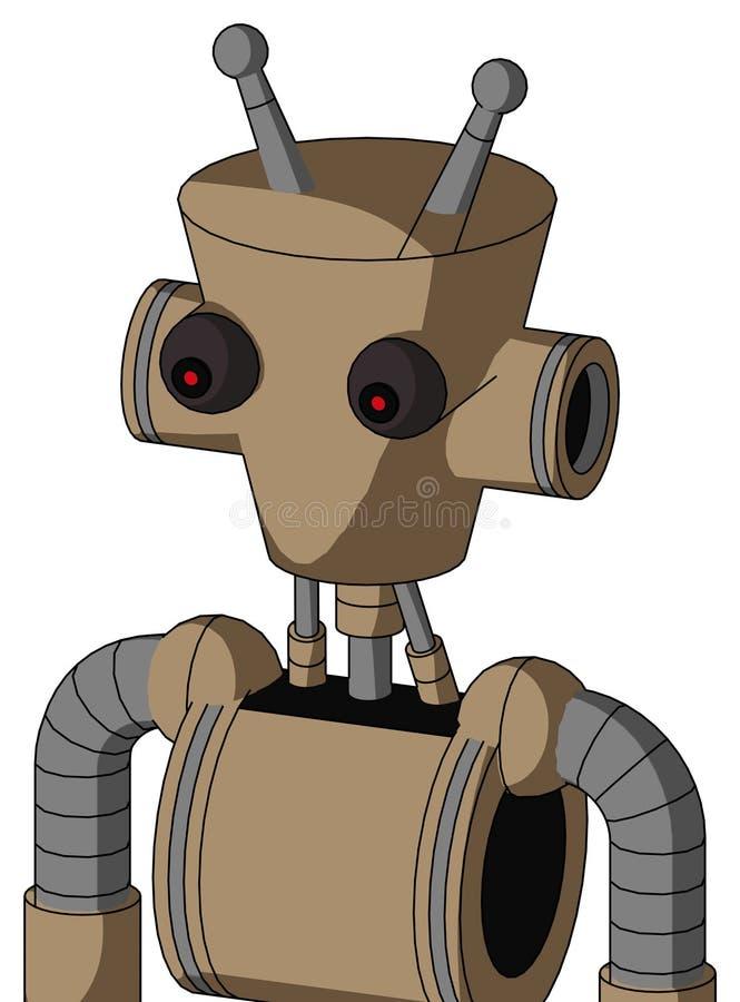 Kartonowy Robot Z Cylindrową Głową, Czerwonym Okiem I Podwójną Anteną obraz stock