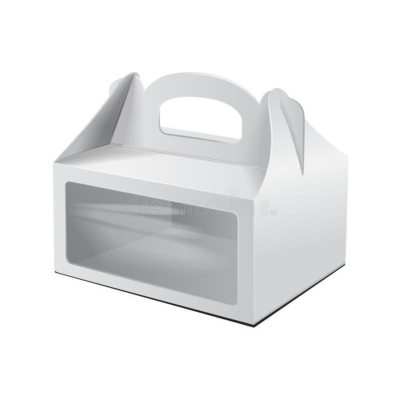Kartonowy Tortowy pudełko Dla fasta food, prezenta, etc, Niesie Pakować Wektorowy mockup Biały szablon pakunek ilustracji