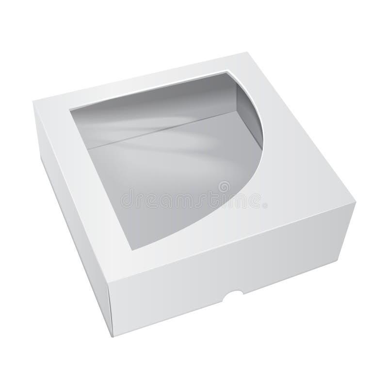 Kartonowy Tortowy pudełko Dla fasta food, prezenta, etc, Wektorowy mockup Niesie Pakować Szablon pakunek royalty ilustracja
