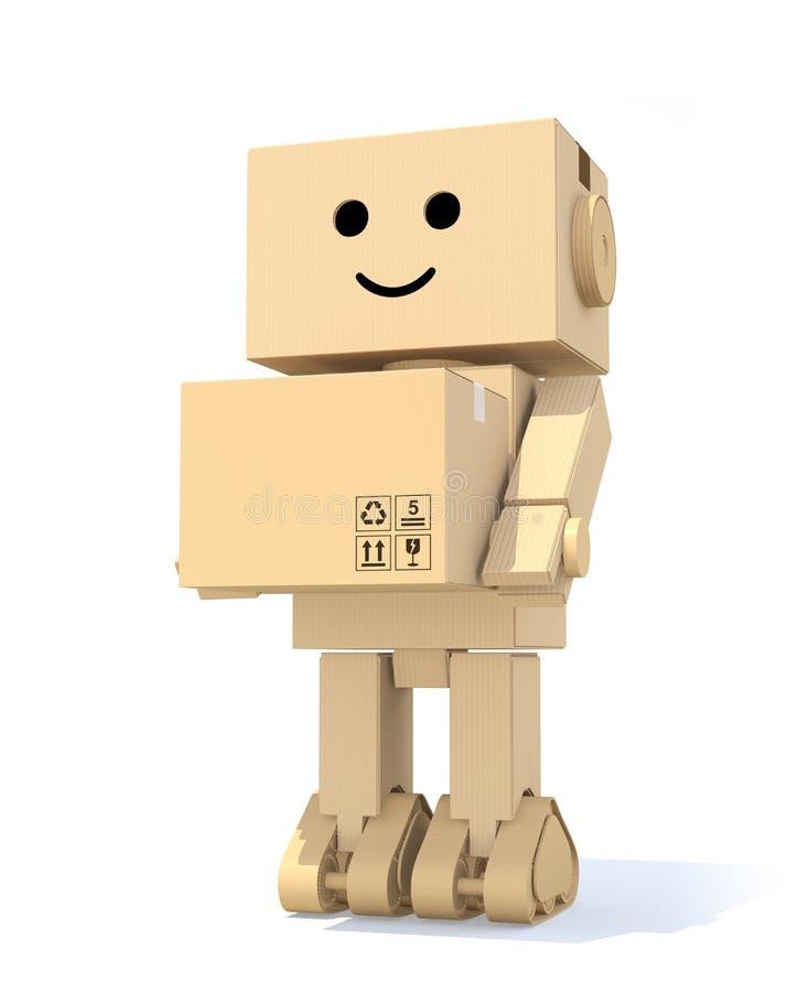 Kartonrobot die een doos dragen royalty-vrije illustratie