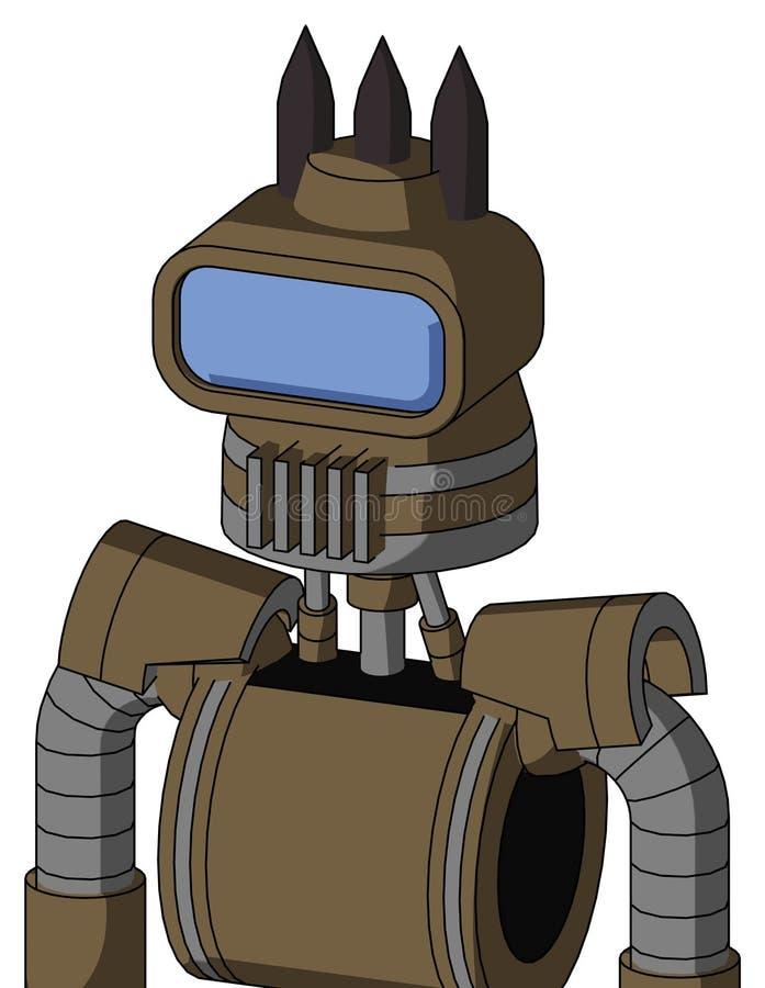 Kartonrobot met van de Kegelhoofd en Opening Mond en Groot Blauw Vizieroog en Drie Donkere Aren stock foto