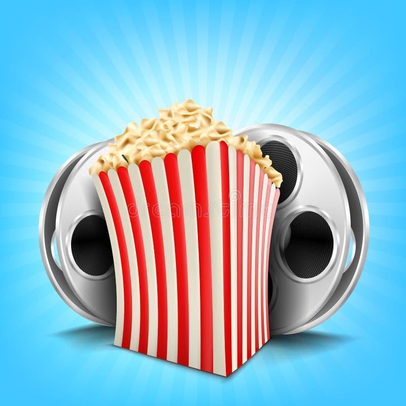 Kartonschüssel voll Popcorn stock abbildung