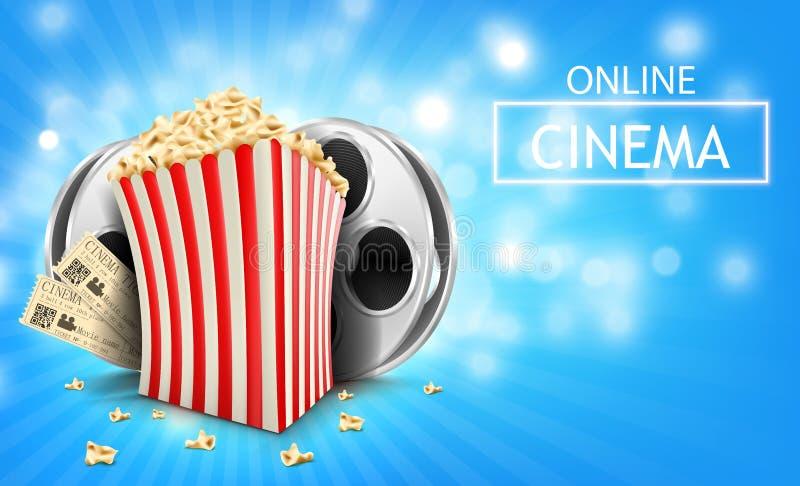 Kartonschüssel voll Popcorn lizenzfreie abbildung