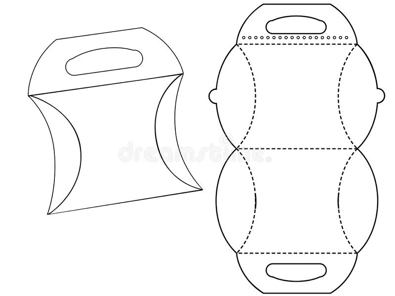 Kartonu bonbonniere Biały karton Niesie Pudełkowatą torbę Pakuje, Odizolowywa Na Białym tle royalty ilustracja