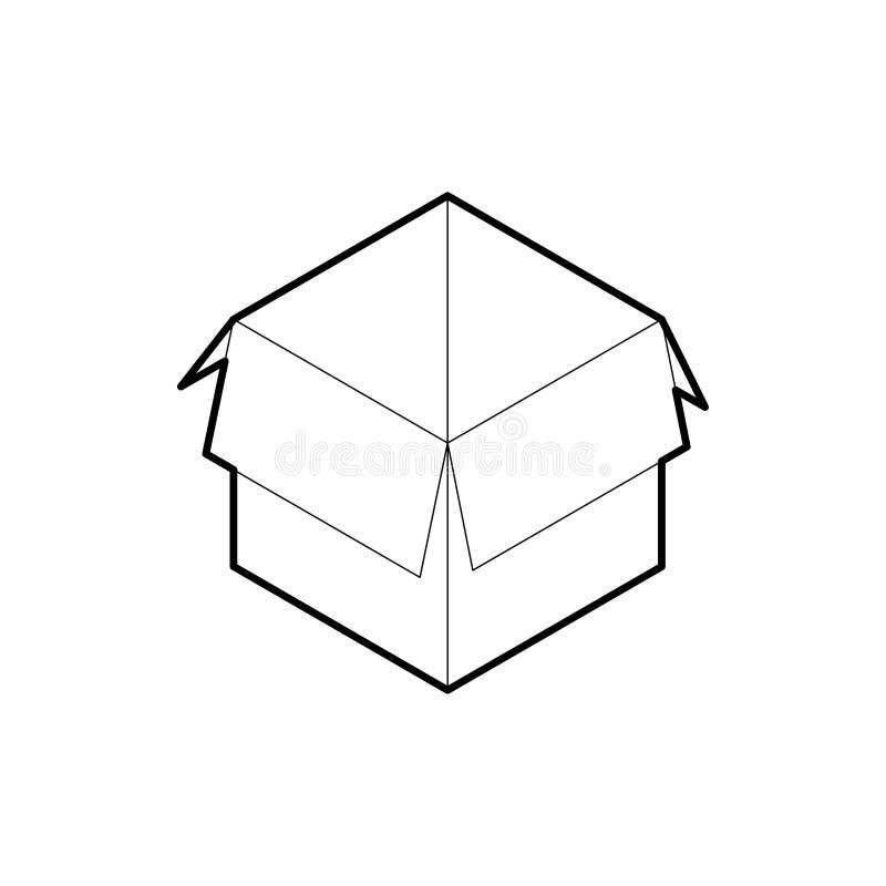 Kartonu konturu ikona Isometric konturu wektor odizolowywaj?cy na bia?ym tle ilustracja wektor