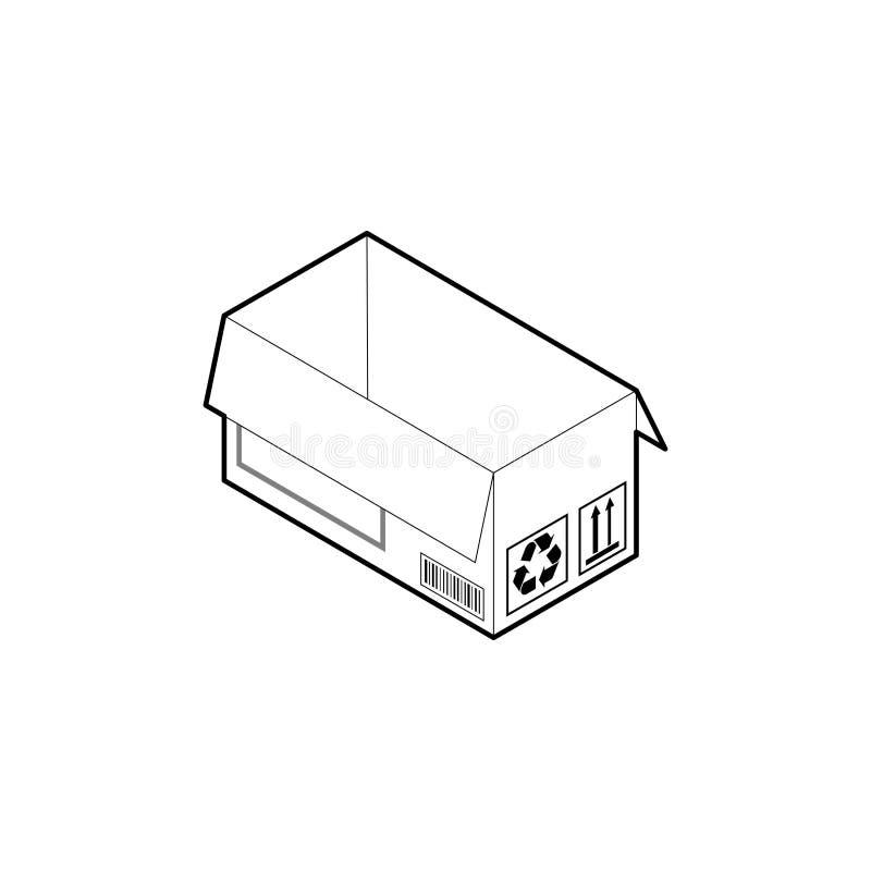 Kartonu konturu ikona Isometric konturu wektor odizolowywaj?cy na bia?ym tle ilustracji