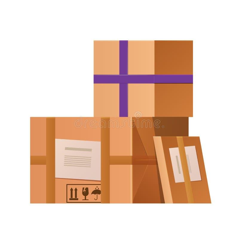Kartonu pakuneczka pudełko Pudełkowaty karton, pakunek, pakuje Prezent zamykający pudełko ilustracji